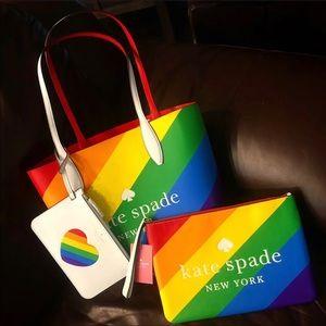 Kate Spade Rainbow Pride Tote Clutch Set
